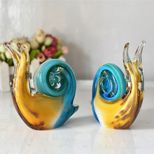 Europe Colored glaze snail Crafts Living Room Desktop glass Ornaments Figurines Wedding Decor Home decoration accessories