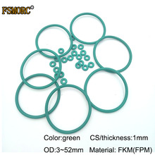OD3mm~ 52 мм* 1 мм Толщина/CS зеленый FKM уплотнительные кольца маслостойкая кислота и щелочестойкая уплотнительная прокладка FPM уплотнительное кольцо