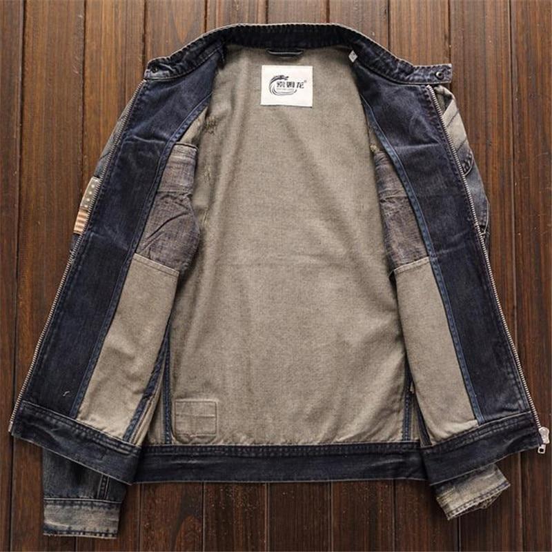 MORUANCLE Homens Motociclista Jaquetas Jeans Do Vintage Com O Patch de Moda Oi Rua Retro Caminhão Denim Outerwear Jaqueta de Moto Para O Sexo Masculino - 4