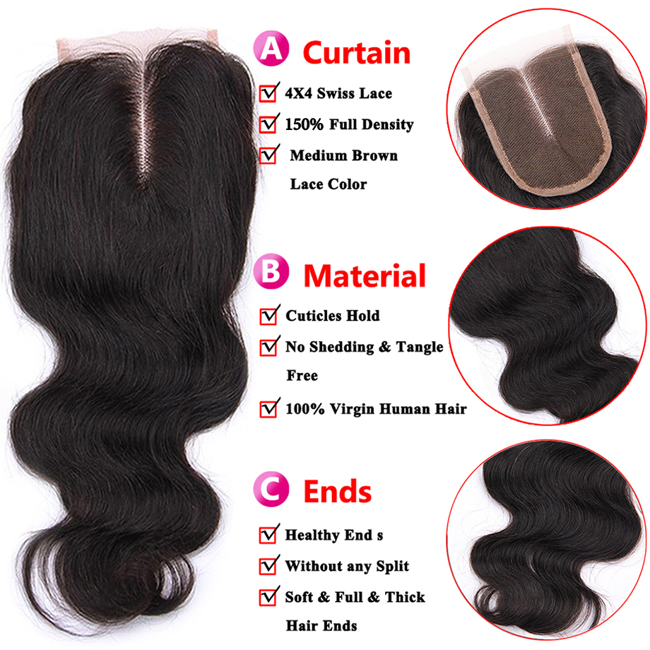 4x4 Swiss Lace Closure 100%    Products Natural Hairline Body Wave Lace Frontal Closure 2