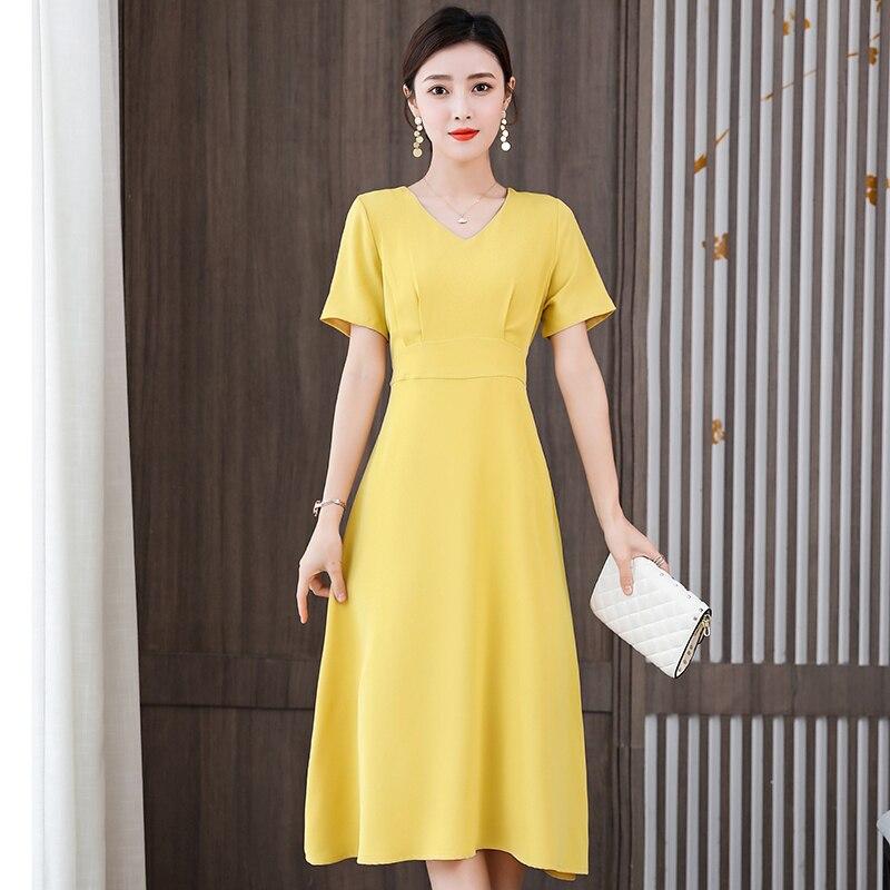 Women Elegant Red Dress New Ladies Short Sleeve V-Neck Slim Summer Dress Female Vestidos New Women'S Clothing 3
