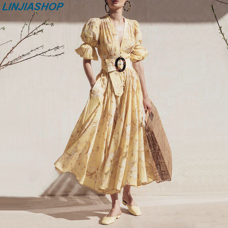 Holiday Queen Of The French Minority Autumn Dress Women High Waist With Sahes Lining A Line Lantern Sleeve Print Midi Dress