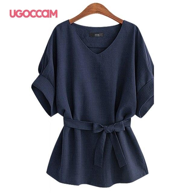 UGOCCAM Summer Women Blouses Sexy V Neck Plus Size Short Sleeve Shirt Loose Blouse Shirt Plus Size Tops blusas Women Clothes 5