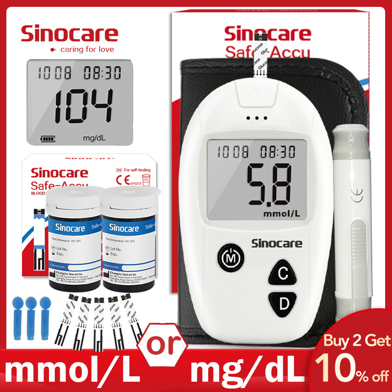 Глюкометр Sinocare Safe-Accu, комплект для измерения уровня глюкозы в крови, с 50 или 100 тест-полосками и ланцетами, медицинский прибор для диабетиков,...
