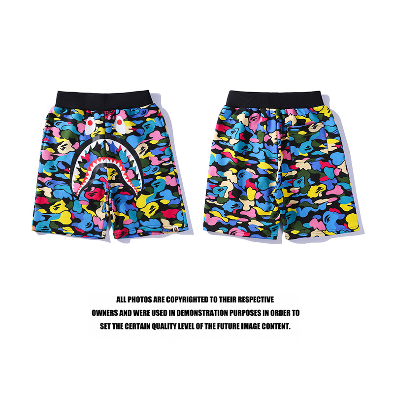 19ss Japanese-style Super Fire Shark Head Candy-Colored Camouflage Shorts Casual Couples Beach Shorts Fashion Shorts