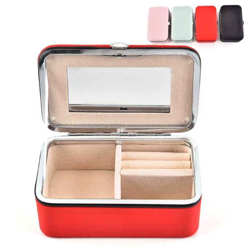 Jewelry Box Portable With Makeup Mirror Earrings Grids Storage Travel Case 634D