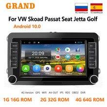GRAND Android 10 Für VW Volkswagen Skoda Octavia ll Golf 5 6 Sitz Altea GPS Navigation Auto-Multimedia-Player 7