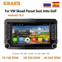 GRAND Android 10 для VW Volkswagen Skoda Octavia ll Golf 5 6 Seat Altea GPS навигации заднего вида камера авто мультимедийный плеер 7