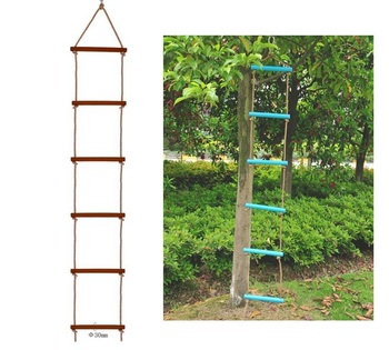 Drewniane szczeble drabina linowa dzieci szkolenia wspinaczka kryty odkryty przedszkole dzieci sport liny huśtawka tanie i dobre opinie TP-16-25 RANDOM