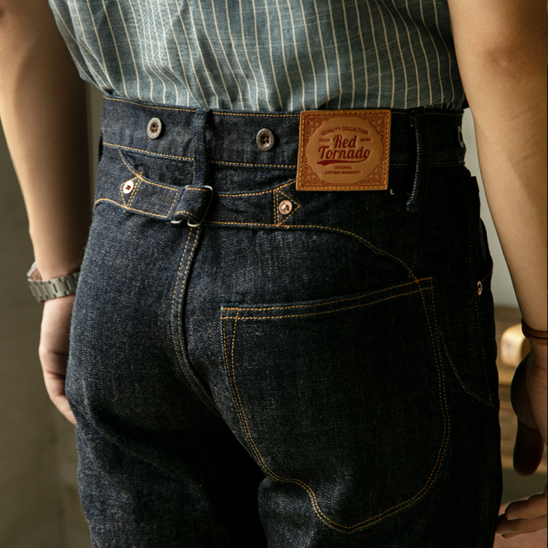FBC-0001 Read Description! 14 OZ raw indigo selvage denim pants one washed sanforized thick raw denim buckle back jean