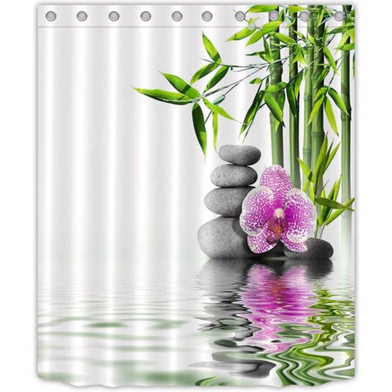 India Spa Zen Buddha Water Yoga Shower Curtain Polyester Fabric