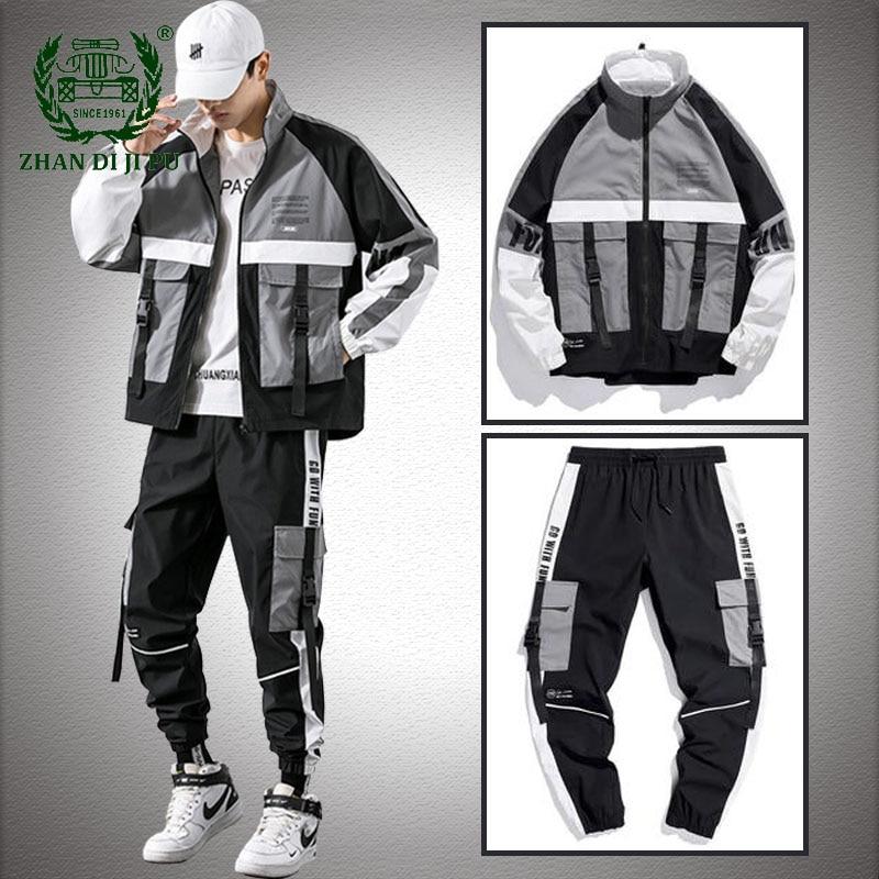 Hip Hop Patchwork Jacket Sets Men Workwear Jackets+Pants Two Pieces Suit  Zipper Ribbons Streetwear Mens Cargo Coats Trousers|Men's Sets| - AliExpress
