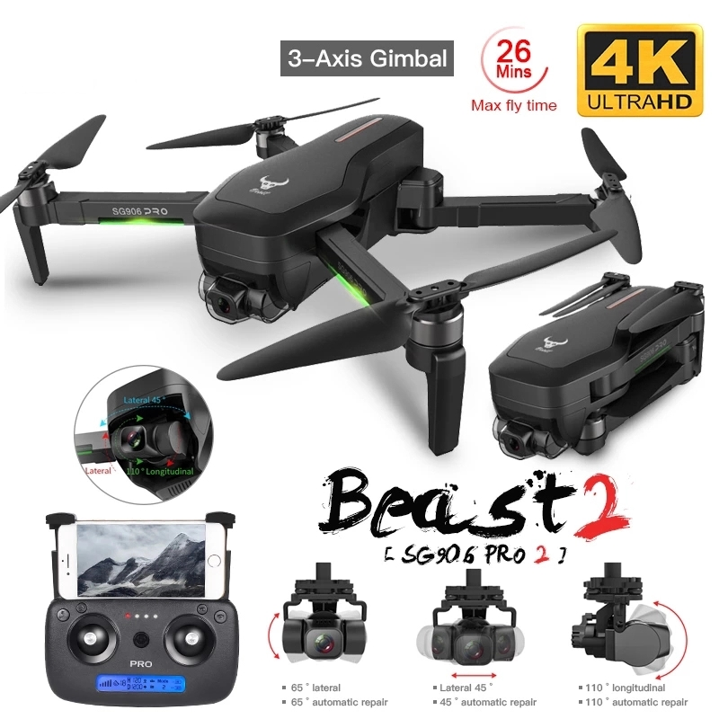 SHAREFUNBAY SG906 pro2 drone 4k HD mechanical gimbal camera 5G wifi gps system supports TF card flight 25 min rc distance 1.2km| | - AliExpress