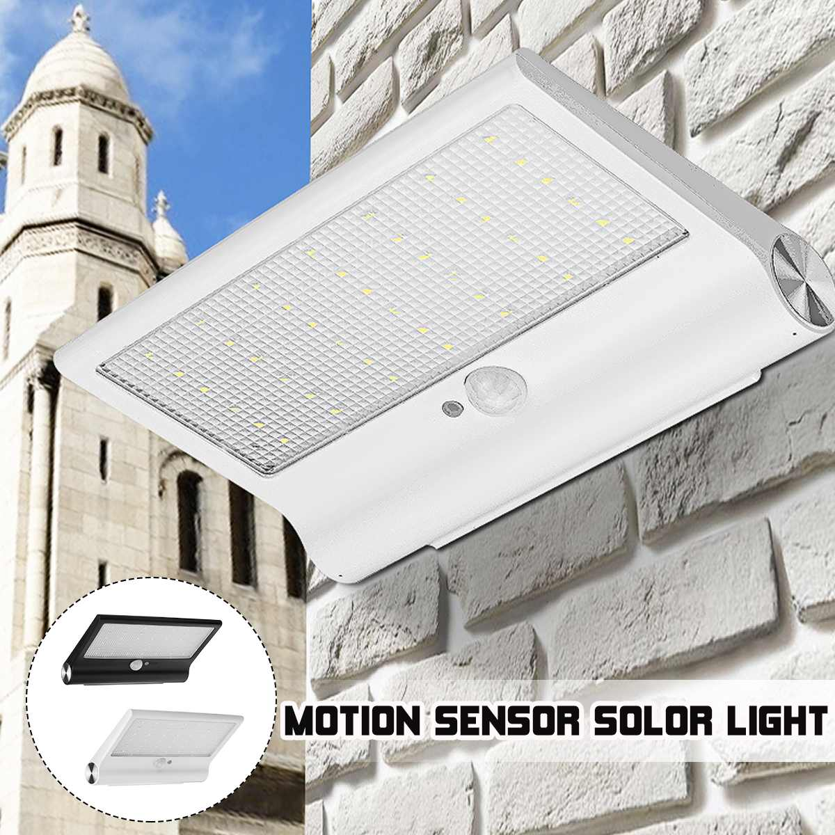 42 LED Black White Waterproof Solar Powered Motion Sensor Wall Outdoor Light Garden Security Lamp 3 Different Lighting Modes
