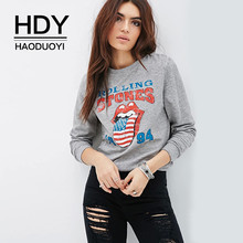 HDY Haoduoyi New Fashion Ladies Streetwear O-Neck Hoodie Loose Letter Print Pullover Tops Casual Long Sleeves Sweatshirt(China)