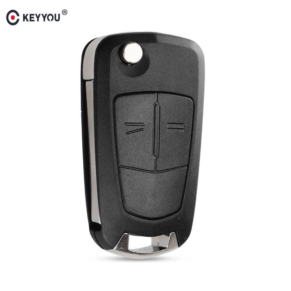 KEYYOU 2 Buttons Flip Remote Folding Car Key Fob Shell Case For Opel Vauxhall Astra Zafira Frontera Omega Vectra Auto Key Case