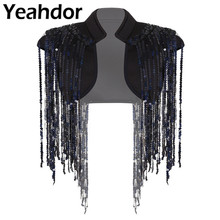 Women Hip hop Jazz Dance Performance Fashion Stand Collar Sleeveless Open Front Sparkle Sequin Tassels Cropped Vest Waistcoat
