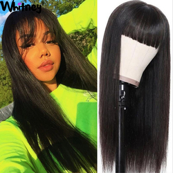 Прямые челки, парики с полной машинкой, бразильские натуральные человеческие волосы, парик Shuangya Hair Whitney, парики плотностью 180%, 30 дюймов для ч...