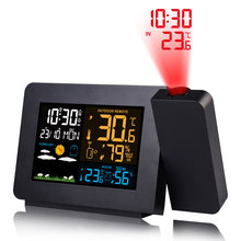 Fanju Alarm Proyeksi Clock Thermometer Hygrometer Wireless Weather Station Digital Tunda Meja Proyek Jam Radio(China)
