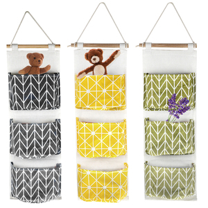 3 Pockets Cotton Linen Wall Hanging Organizer Storage Bags Door Pouch Bedroom Home Storage Pocket Home Decor Hanging Bag