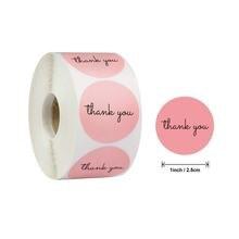 500 шт/упак рулон Розовый спасибо черный Глянцевые Наклейки