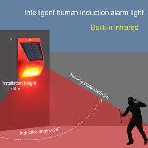 Image 2 - Солнечный звуковой сигнал Лампа вспышка Предупреждение светильник оповещения движения PIR Сенсор строба сирены охранной сигнализации Системы для фермы дома во дворе на открытом воздухе