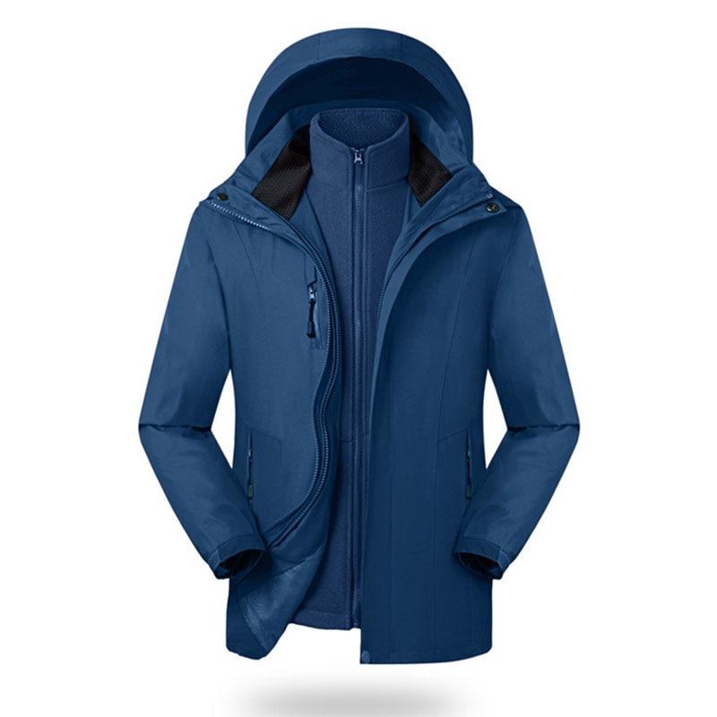 North Winter Men's Jacket Women Windproof Face Hoodies Detachable 2 Piece Plus Velvet Thick Outdoor Sport Couple Parka Coats