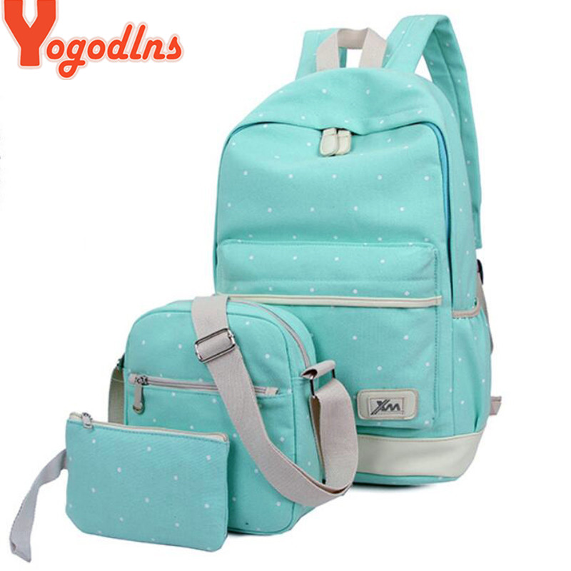 Yogodlns 3Pcs/set Casual Women Backpack Canvas Book Bags Preppy Style School Back Bags For Teenage Girls Composite Bag