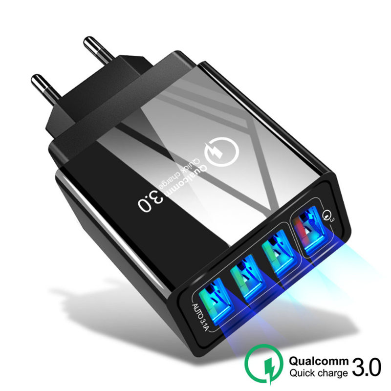 Универсальное сетевое зарядное устройство с 4 USB-портами, QC 3,0, быстрый адаптер для Huawei P30/Mate 20/30, iPhone 11 Pro Max, X, XS, XR, 8