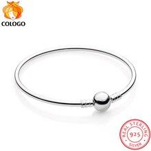 100% 925 Solid Silver Charm Bracelet for Women Chain Round Bracelets Bangle Wedding Fashion DIY Making Jewelry ZY5