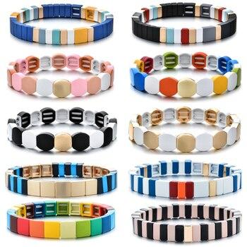 1 Uds pulseras de azulejos pulseras apiladas delicadas pulseras elásticas de Arco Iris para las pulseras de las mujeres 2020 gran oferta