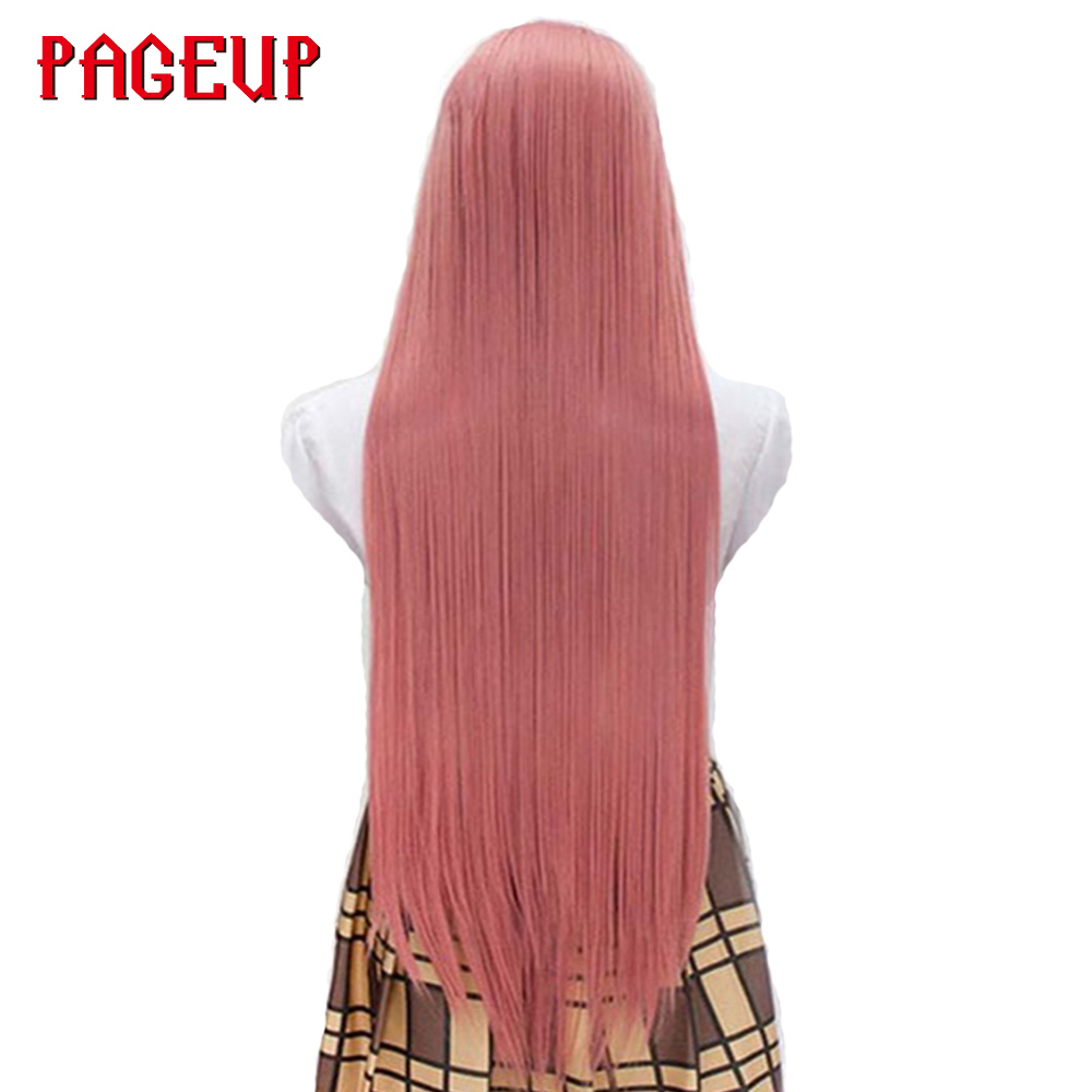 Long Straight Cosplay Wigs Pure Color Pink Yellow Grey High Temperature Heat Resistant Synthetic Hair Pageup For Party