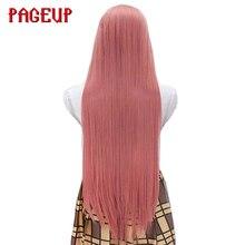 Uzun düz Cosplay peruk saf renk pembe sarı gri yüksek sıcaklık isıya dayanıklı sentetik saç Pageup parti için