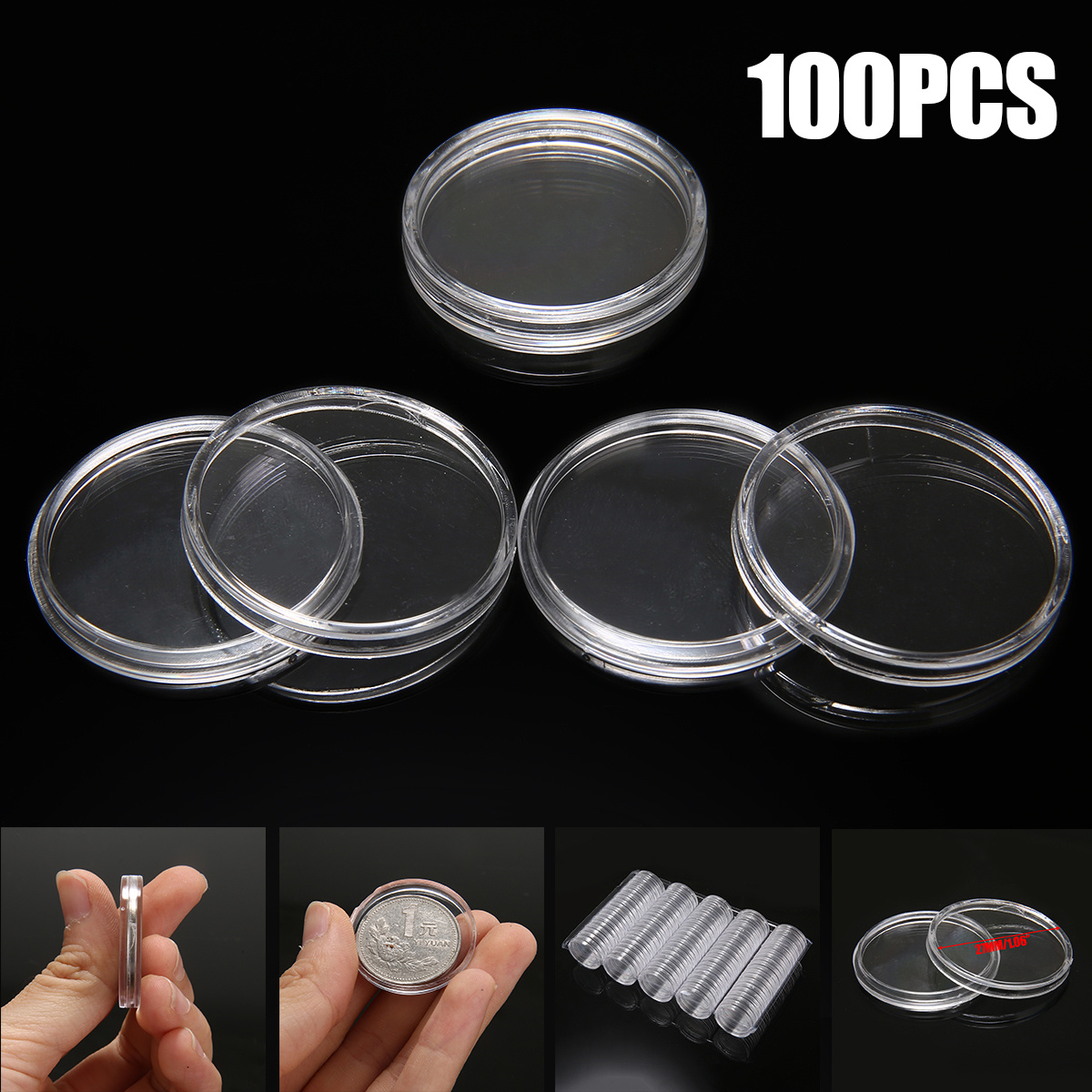 100pcs New 27mm Round Coin Capsules Coins Storage Case Box Container Plastic Clear Coin Storage Box for 2 Euro Coin
