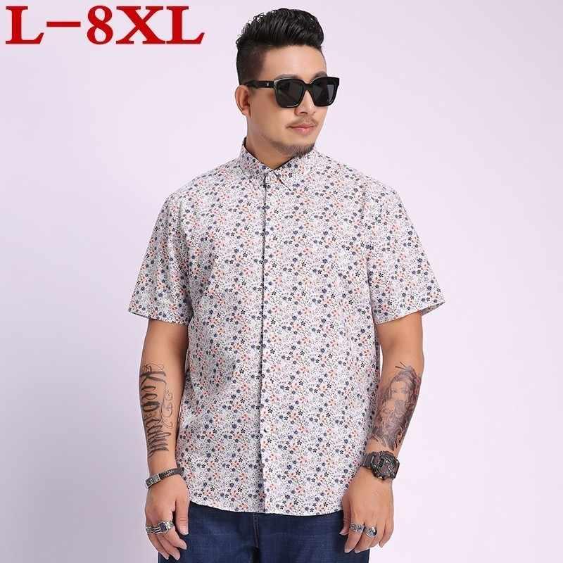 Yeni artı boyutu 8xl 7xl yaz erkek kısa kollu plaj hawai gömlek pamuk Casual çiçek gömlek düzenli erkek giyim moda