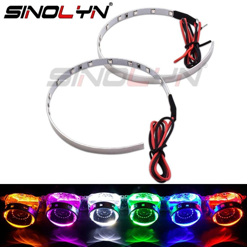 Sinolyn LED Devil Eyes Demon Eye Retrofit For 3.0 Projector Headlight Lenses Accessories 360-degree Red Blue Green Yellow Purple