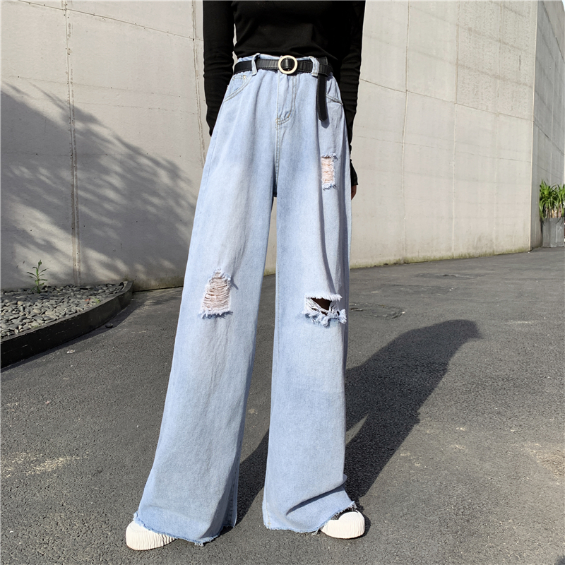 2019 Autumn Wide Leg Ripped Jeans For Women High Waist Loose Straight Long Denim Trousers Streetwear Korean Womens Clothing