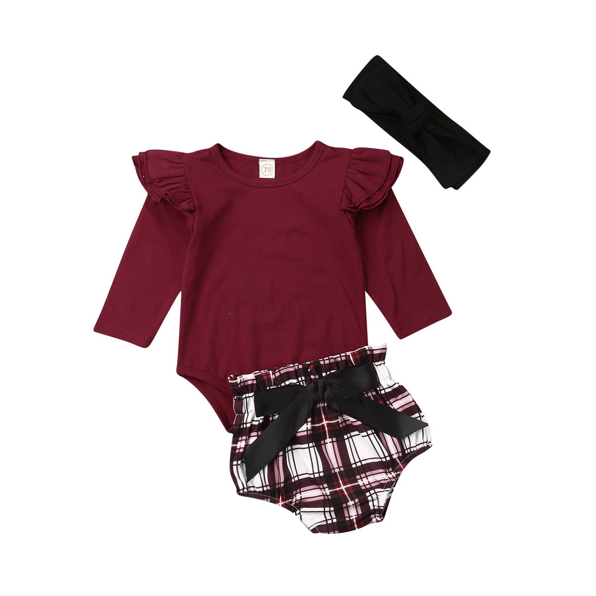 3Pcs Skirt Set Infant Baby Girls Outfits Long Sleeve Romper Top Plaid Dress Headband Clothes