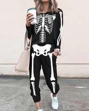 2021 женский костюм с длинным рукавом изображением скелета топ
