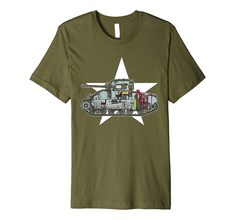 100% Cotton Fashion Summer Sale Men Sherman M4 Ww2 Us Military Tank Small Olive 3D Printed T-Shirts
