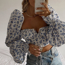 Tie Front Top Women Floral Print Crop Tops Square Collar Blouses Shirts Puff Sleeve Tops for Woman Elegant Sexy Tee Halter Top