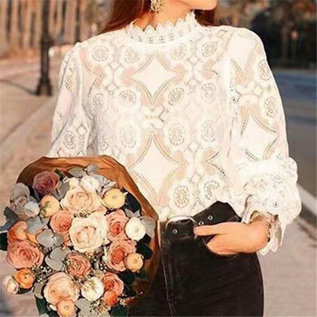 Women Lace Blouse Elegant Formal Embroidery Long Sleeve White Shirts Office Lady Flower Hollow Fashion Female Chemise Clothing
