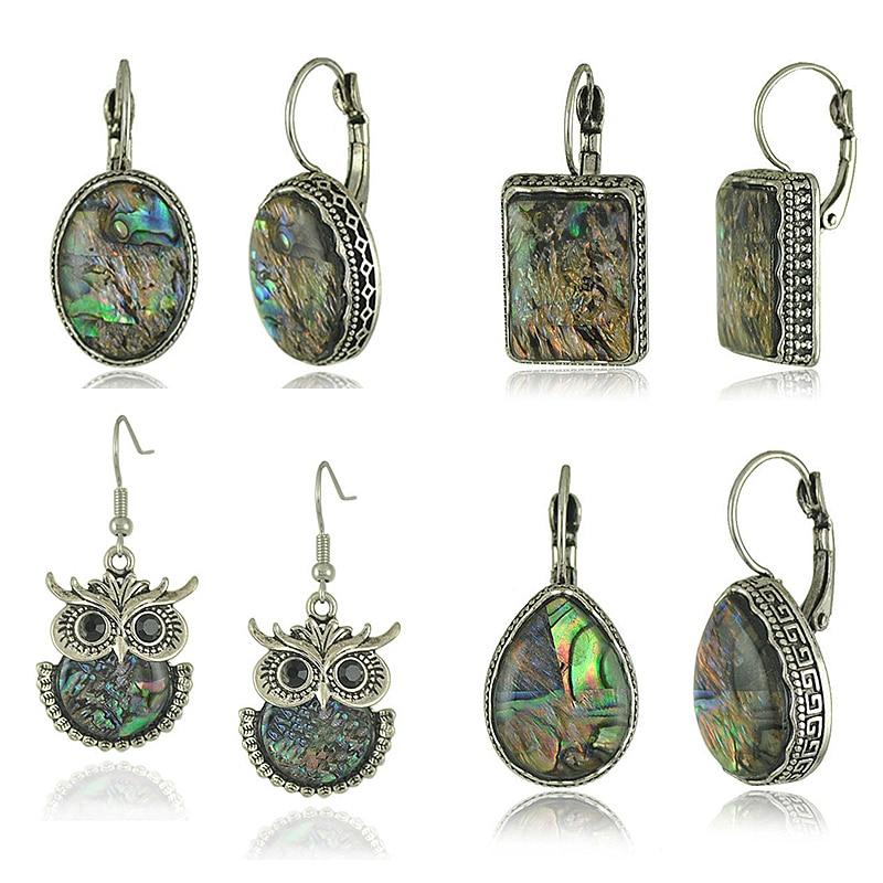 Tribal Colorful Abalone Shell Resin Stone Dangle Earring for Women Retro Ethnic Owl Elephant Geometric Earrings Jewelry Z4XQ0019(China)