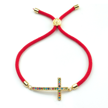 Pulsera de hilo rojo con Cruz de arco iris para mujer, brazalete de circón, joya de oro de 24 quilates, 2020