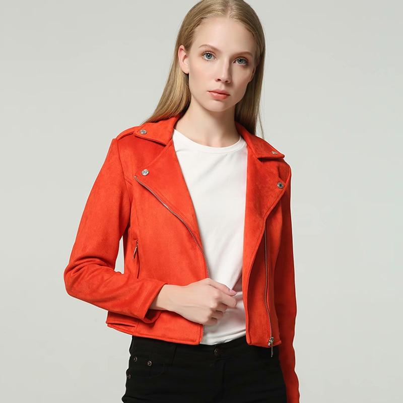 Elegant 2019 Autumn Women Faux  Suede Leather Biker Jackets Long Sleeve Zipper Suede Coat Streetwear Orange Autumn Outfit Top