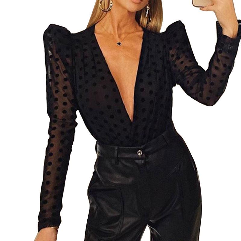 Spring Women Sexy See-through Sheer Deep V-Neck Blouses Mesh Translucent Polka Dots Puff Long Sleeve  High Street Fashion Tops