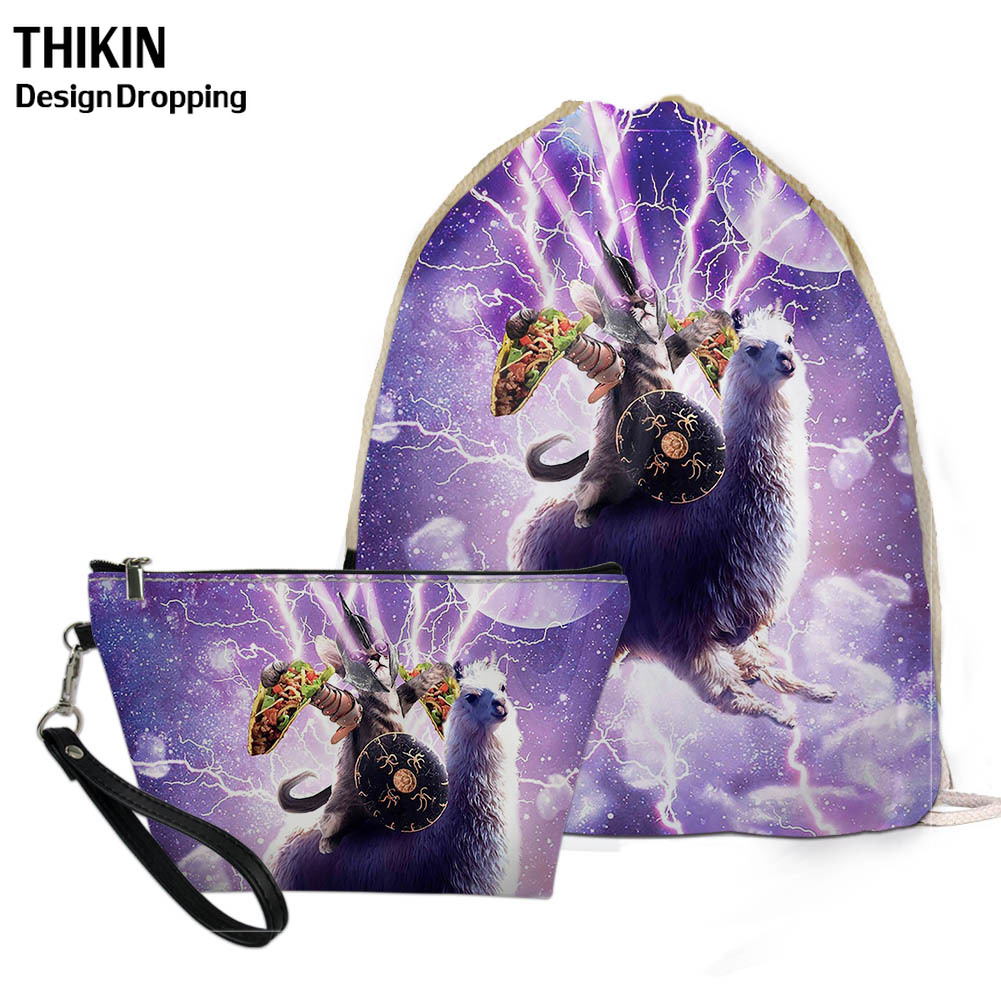 THIKIN Funny Super Space Cat 3D Printed Womens Shoes Drawstring Gift Bags Cool Men Sports Draw String Pouch Kids Travel Bolsos