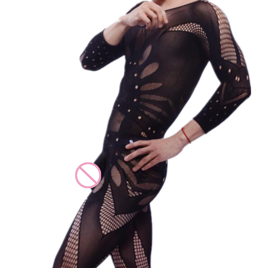 Sissy Sleepwear Bodysuit Fishnet Sexy Lingerie Funny Black One-Piece Male Clothing Gentleman title=
