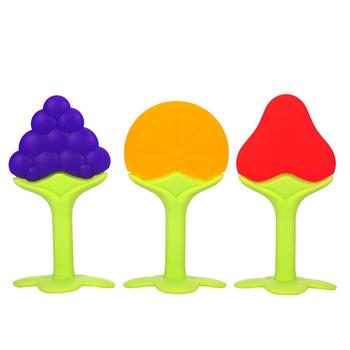 Kształt owoców gryzak dla niemowląt dziecko gryzaki Food Grade silikonowe gryzak dla niemowląt opieki stomatologicznej wzmocnienie zębów szkolenia tanie i dobre opinie NoEnName_Null Pojedyncze załadowany BPA za darmo teether 4 miesięcy Kwiat
