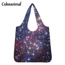 Coloranimal довольно 3D Галактика печати покупателя сумки для женщины дизайнерский бренд багажа мужской женский эко-сумки большой мешок бакалеи